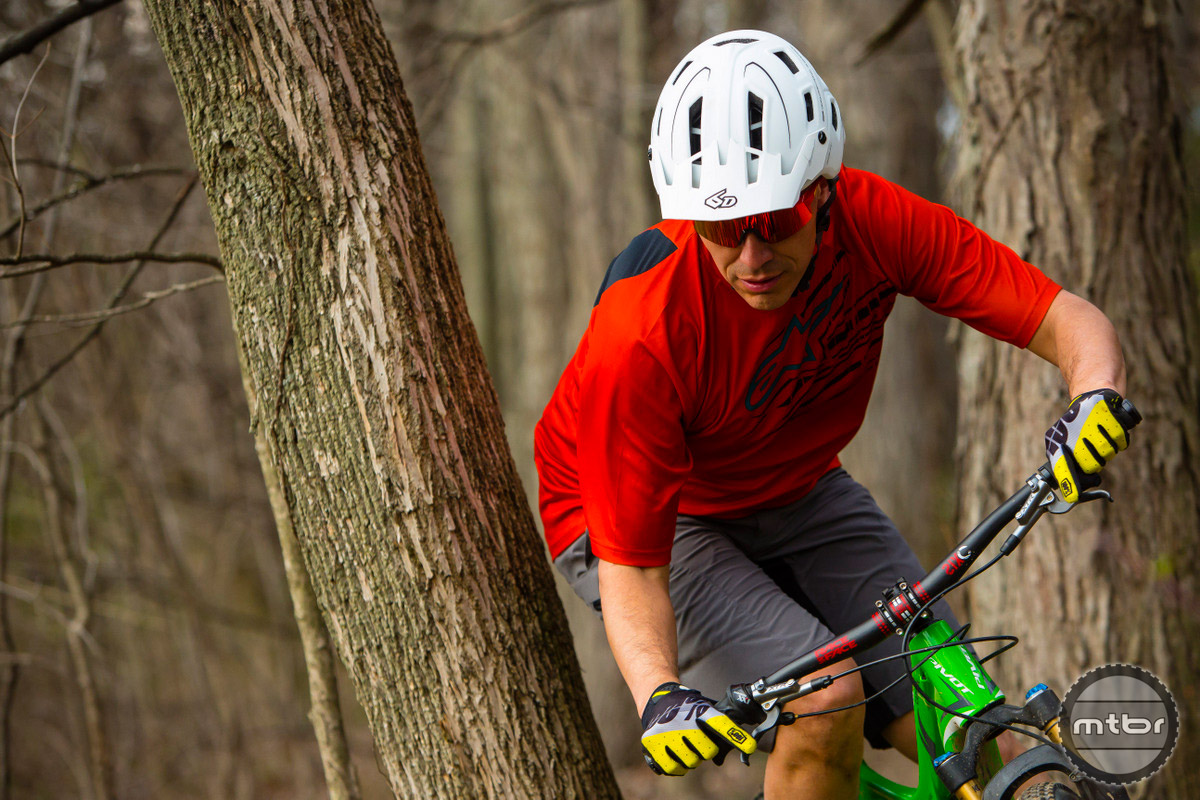 6D ATB-1T with the rider weaving through trees.