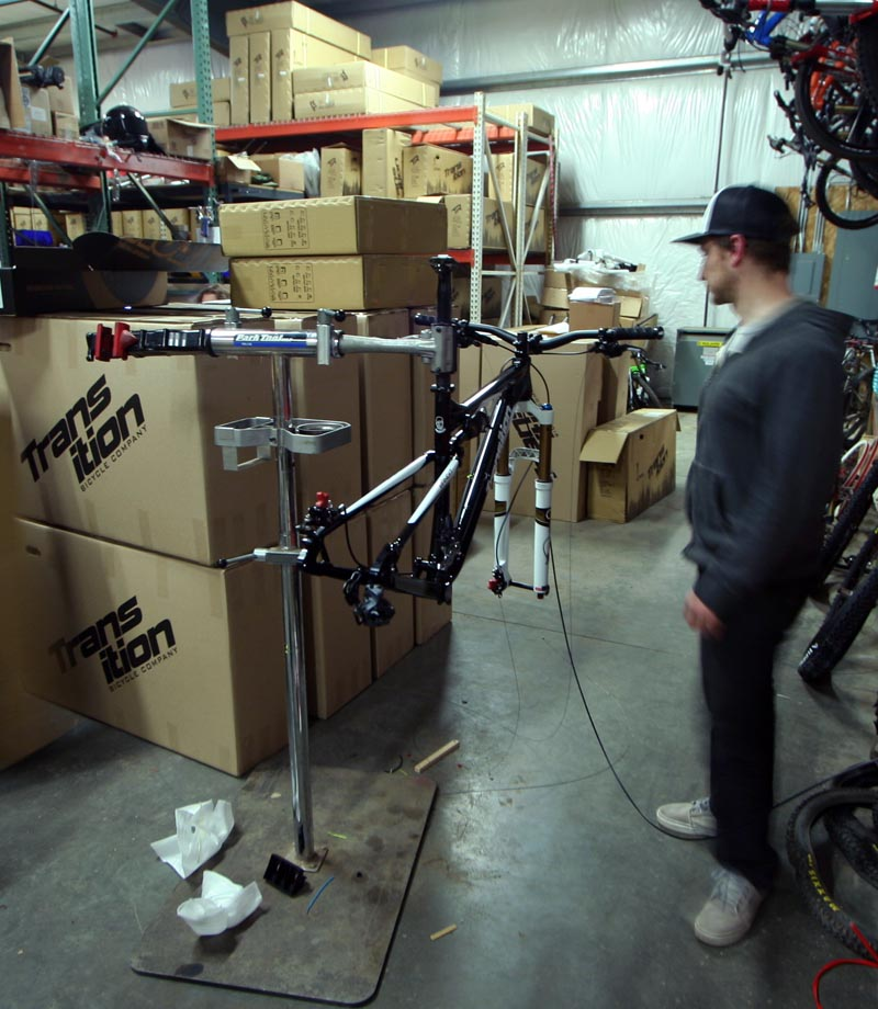 Chris P at Transition World HQ building my bike