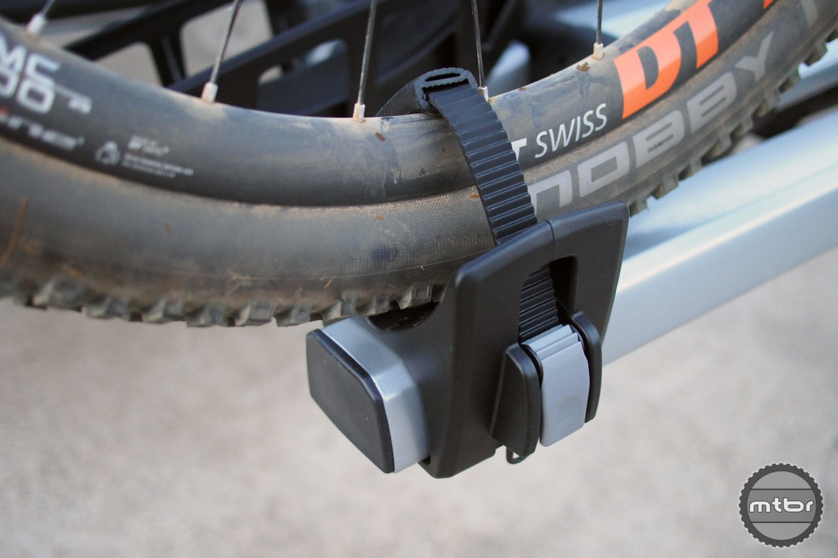 Tire guides can accept even the largest bike tires available today.