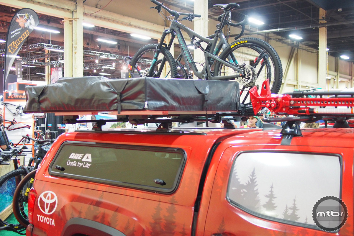 The Skyrise is displayed here all folded up on a Toyota pickup. It can be left up on the roof or taken down with the 2-person tent weighing in at only 70 lbs.