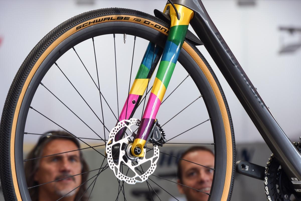 Loving the rainbow fork on this Bergamont bike.