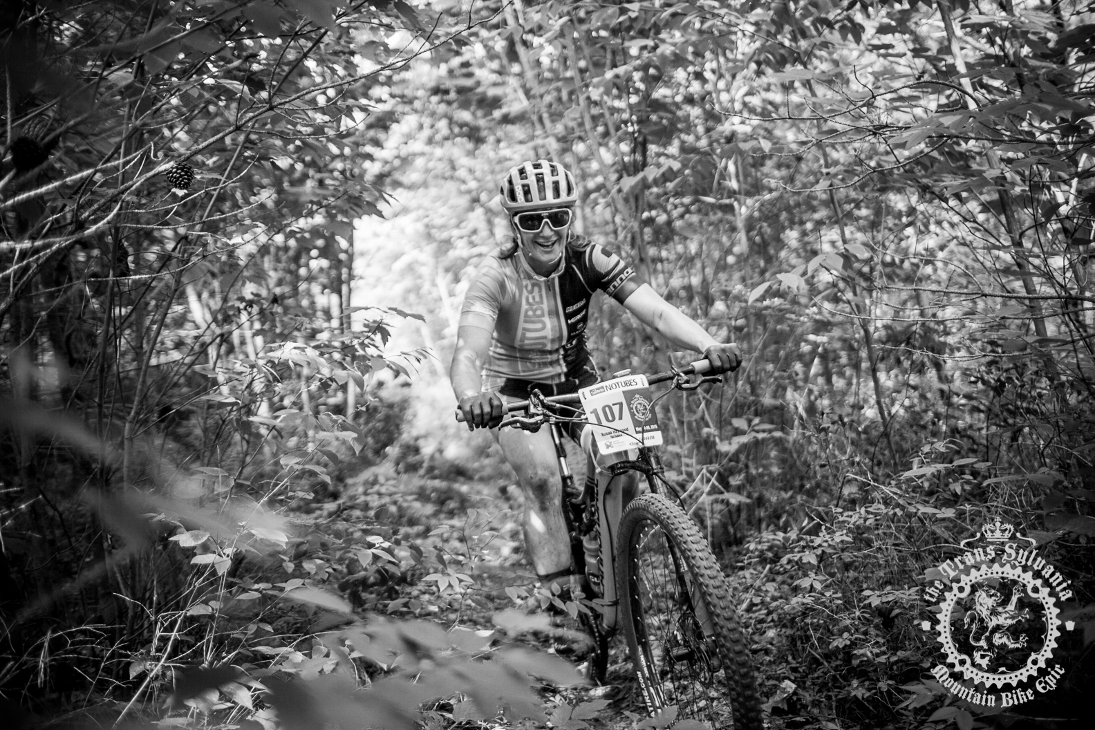 Sue Haywood (Stan's NoTubes Elite Women's Team) enjoys some singletrack at the NoTubes Trans-Sylvania Epic. Photo by the Trans-Sylvania Epic Media Team