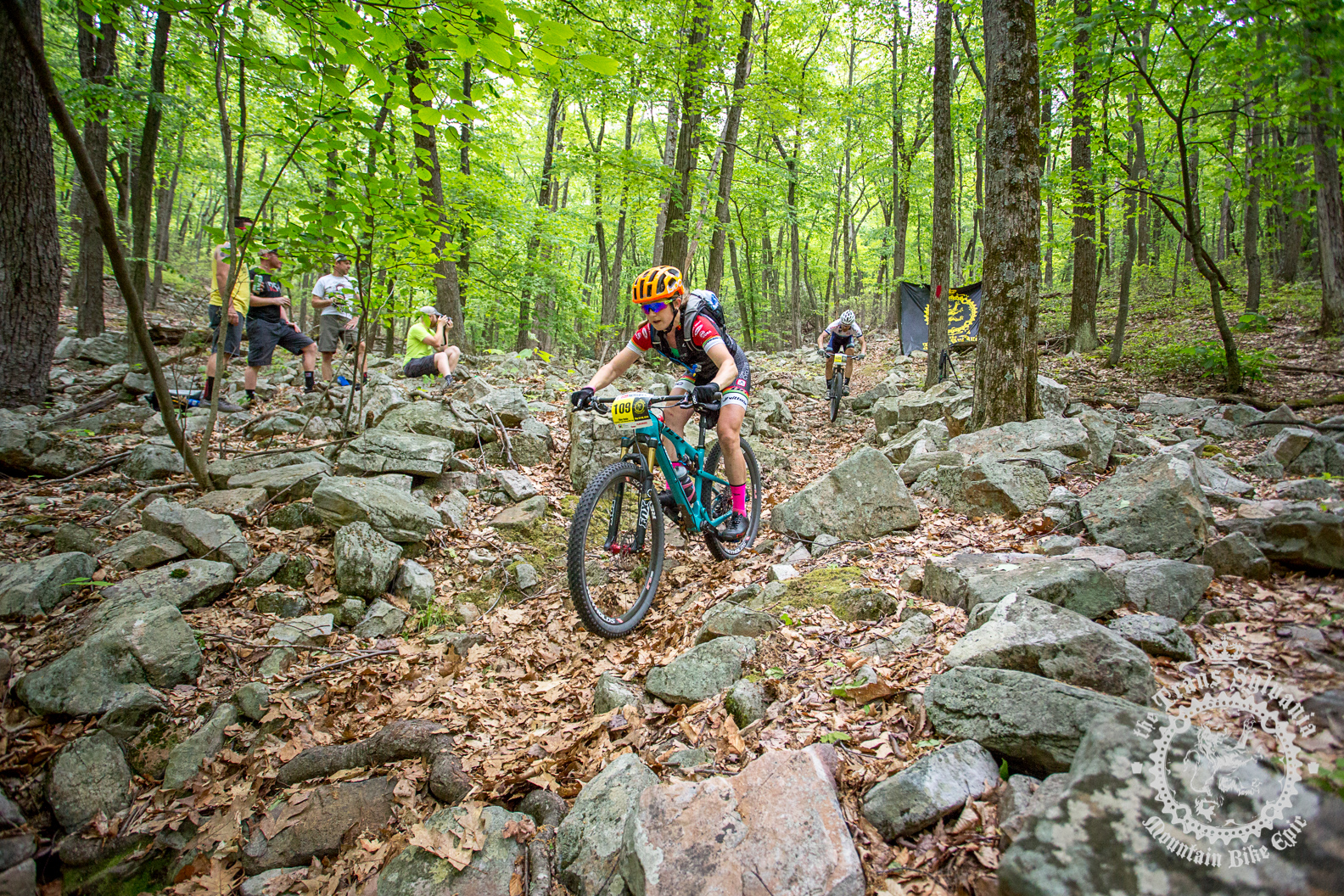 Ellen Noble (Competitive Cyclist) negotiates a rock garden at the NoTubes Trans-Sylvania Epic. Photo by the Trans-Sylvania Epic Media Team