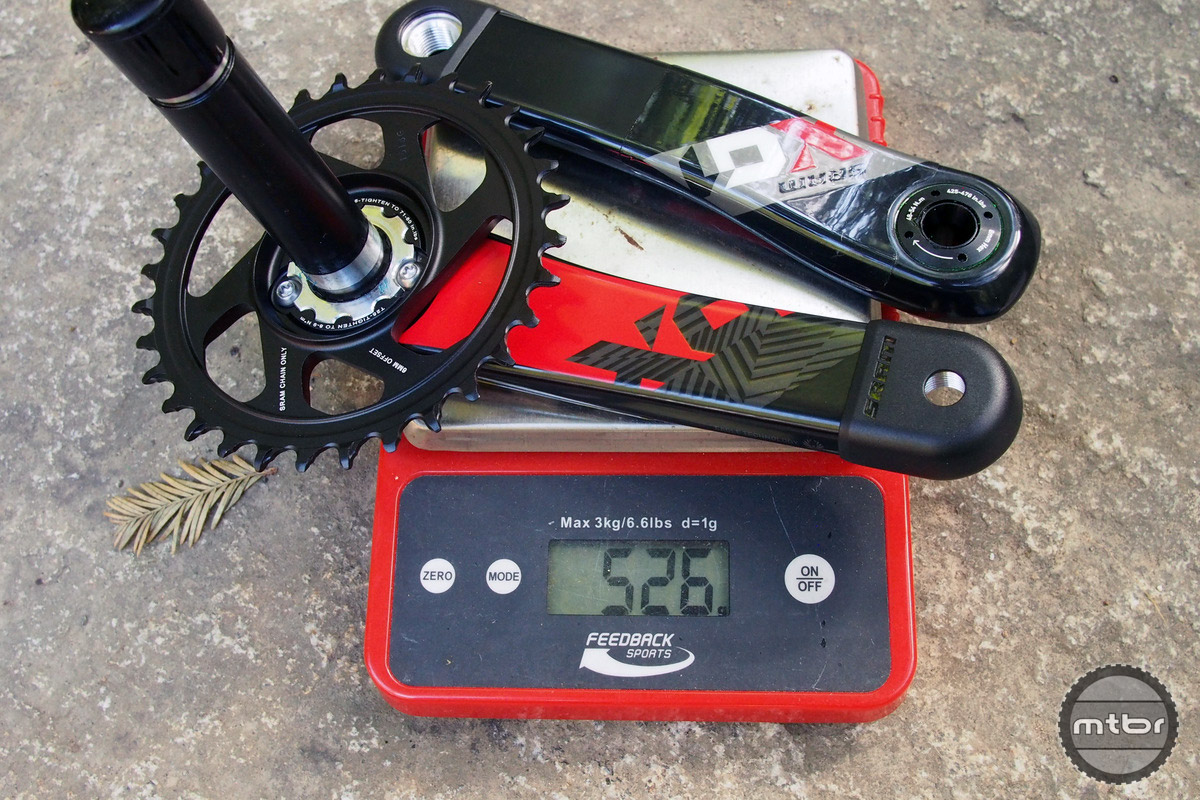 X01 cranks come in at 526 grams with a 32t ring.