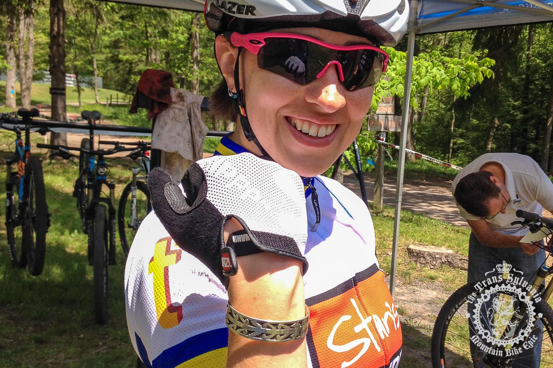 Vanessa McCaffery (Stan's NoTubes/Corning) wears a certain silver bracelet or good luck. Photo by Trans-Sylvania Epic Media Team