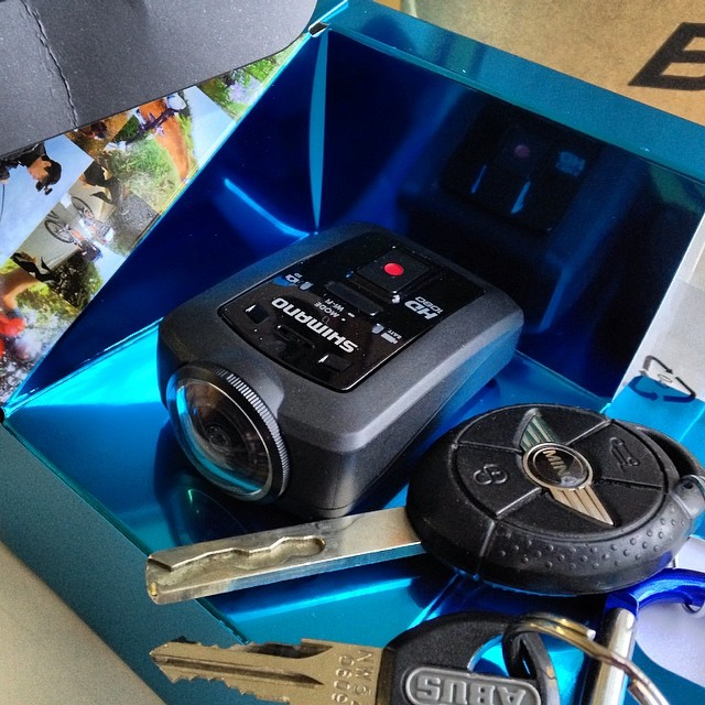 Shimano Action Camera with Mini Cooper keys for scale