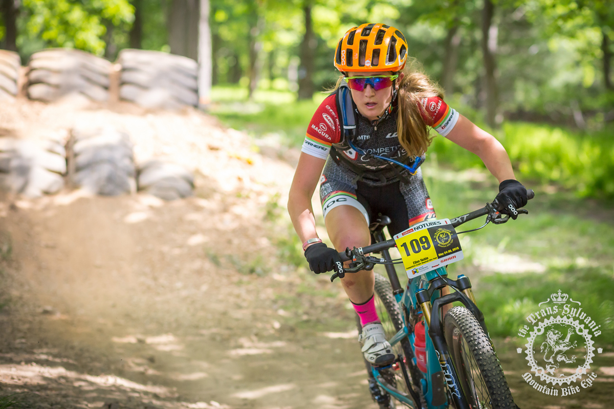Ellen Noble (Competitive Cyclist) rides through the enduro cross section of the prologue at the NoTubes Trans-Sylvania Epic. Photo by the Trans-Sylvania Epic Media Team