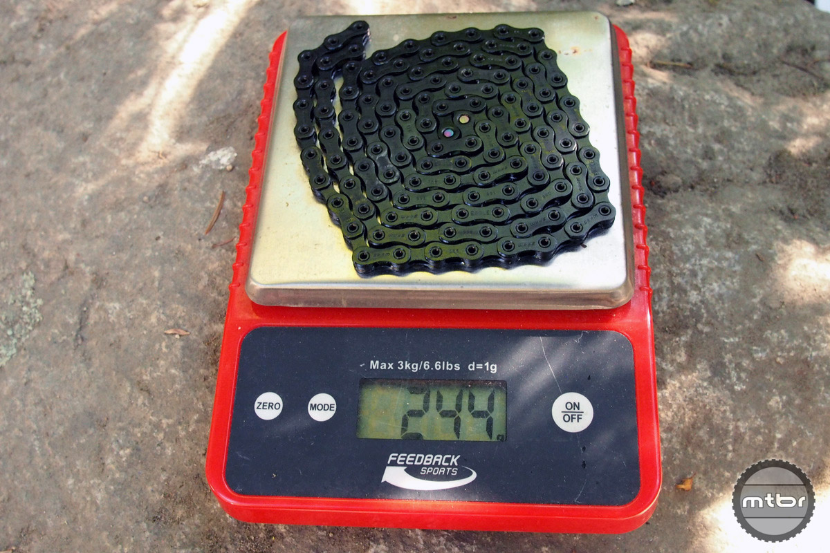 Uncut chain is at 244 grams.