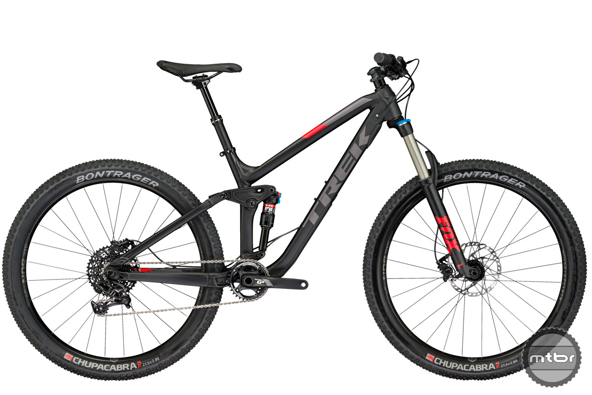 "Like the 29er"", the Fuel EX Plus uses boost front and rear spacing."