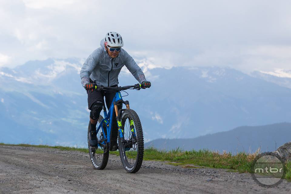 Zonyk on climb in the rain in Verbier