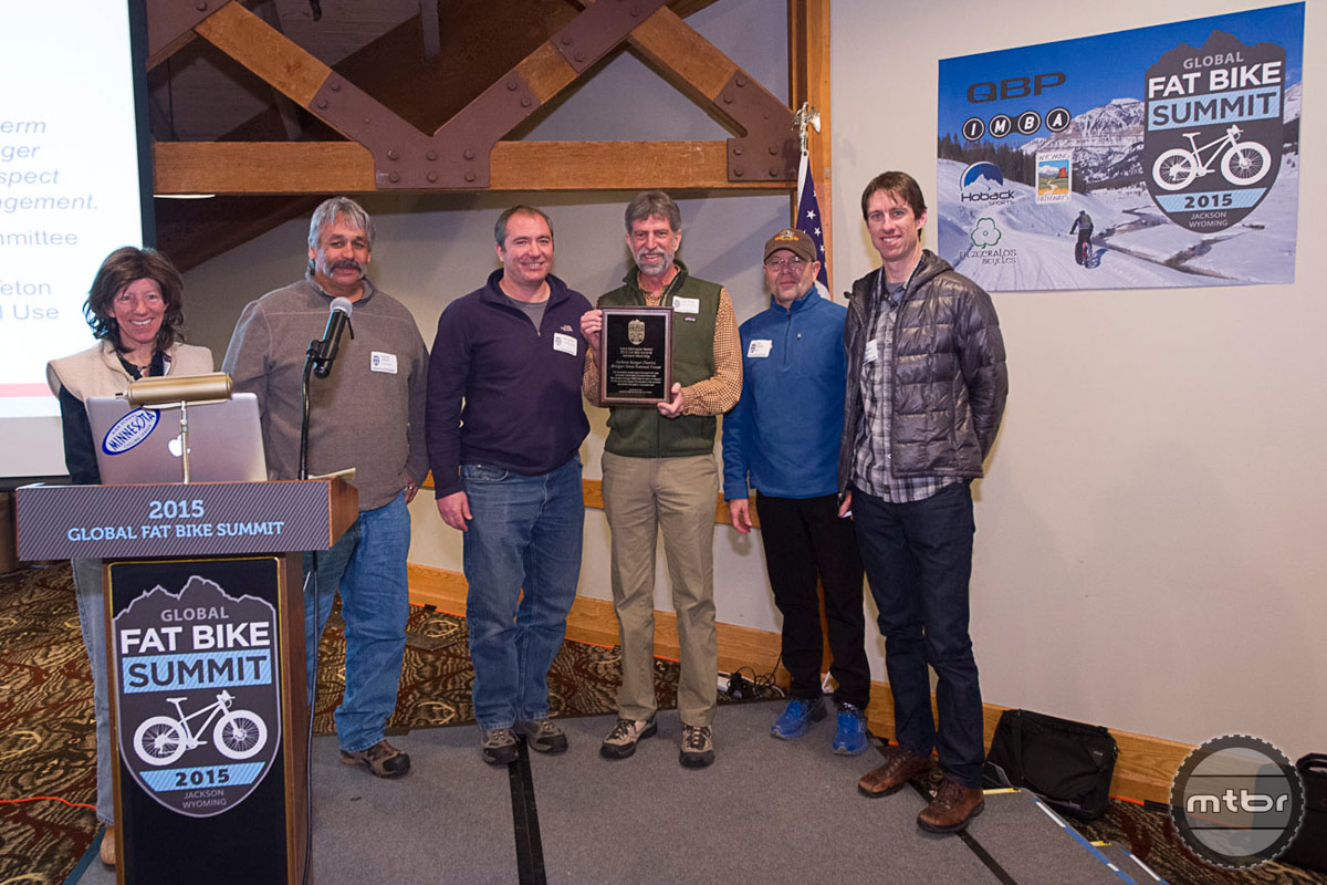 Representatives from the local Jackson District of the Bridger-Teton National Forest received an award for their forward thinking bicycle management. Thanks to the BTNF trail systems like Teton Pass are leading the nation in progressive trail building on public lands. Photo by Bob Allen and Estela Villasenor