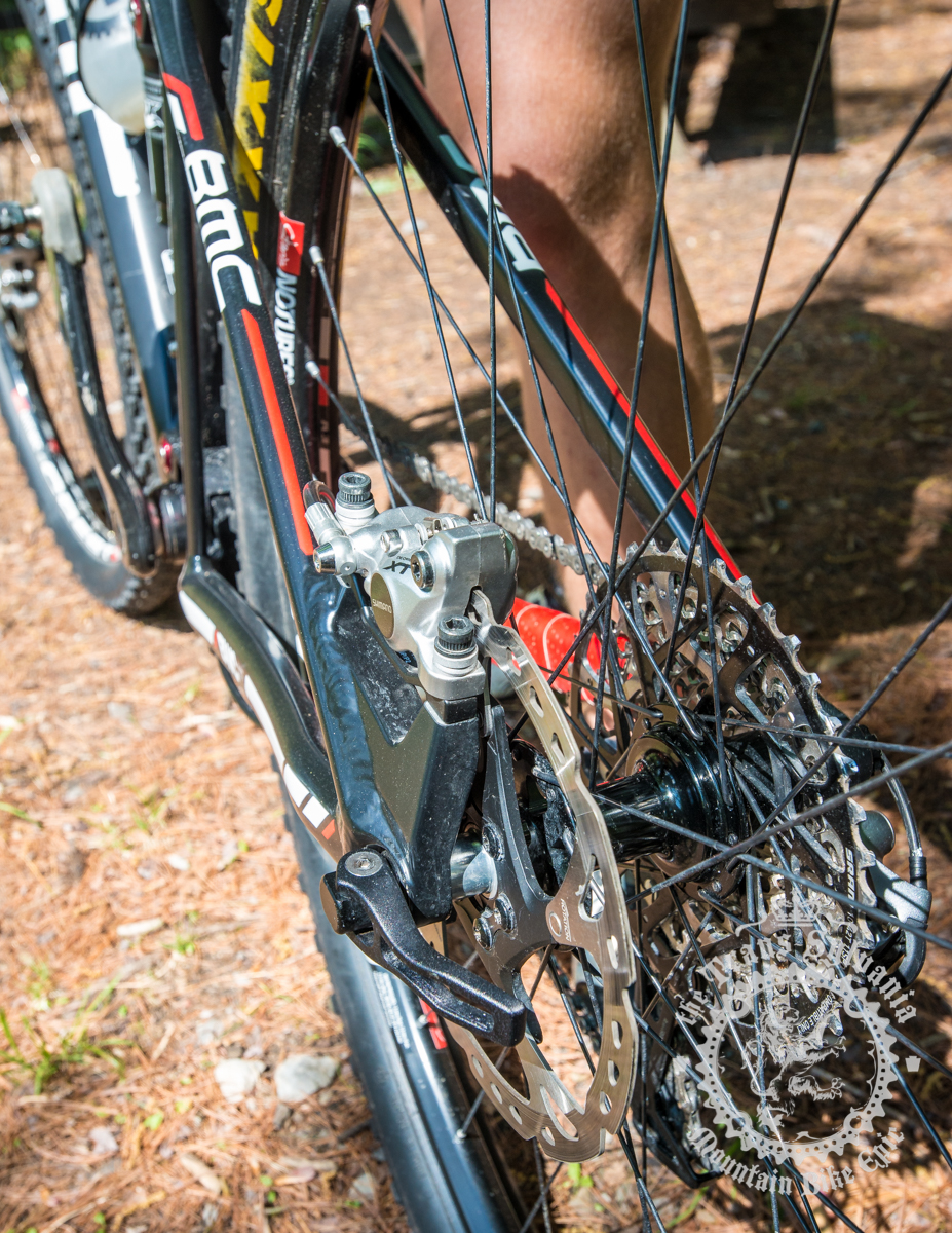 The rear hub area showcases the Shimano XT calipers and Icetech rotor. Photo by  the Trans-Sylvania Epic Media Team
