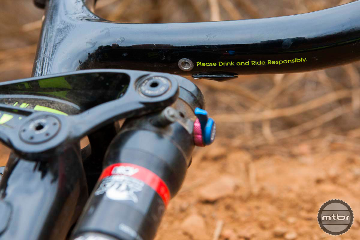 Do the responsible thing and try before you buy. There's a hidden message under the top tube of the Trek Lush Carbon 2015. Photo by Chris Wellhausen