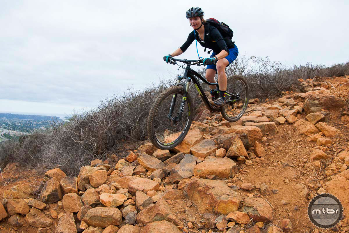 "Trek's new RE:aktiv technology in the rear suspension makes sure your back wheel sticks, even ""on the rocks."" Photo by Chris Wellhausen"