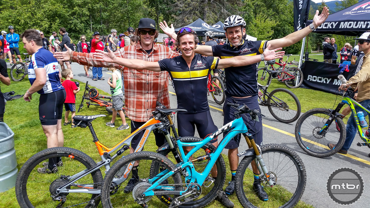 Joe Lawill and Brian Lopes teamed up with Di2 equipped  non-XC rigs. They won their class and probably hit every jump. Marketing man Joe believes that the first rule of marketing is participating.
