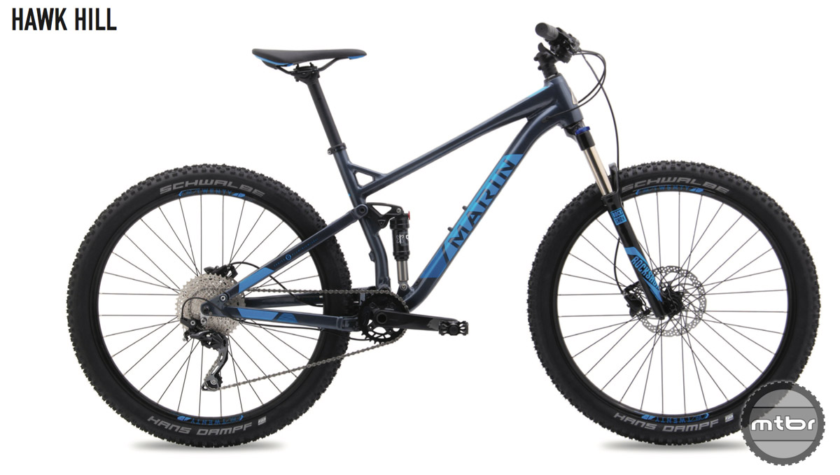 The new Marin Hawk Hill is a reasonably prices full suspension that comes smartly equipped, with provisions for upgrades down the road.