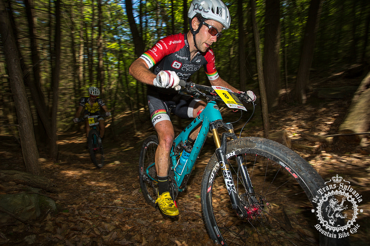 Justin Lindine (Competitive Cyclist) is riding a Yeti ASR. Photo by  the Trans-Sylvania Epic Media Team