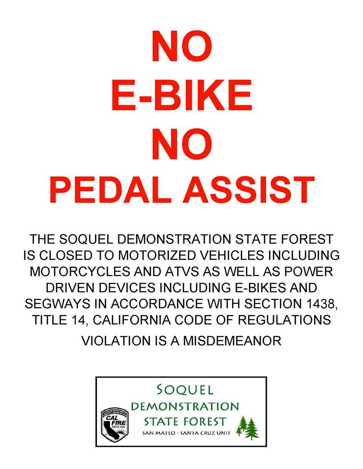 No Ebike sign at Demo Forest-25507756_1966839166903458_7512143921226991143_n.jpg