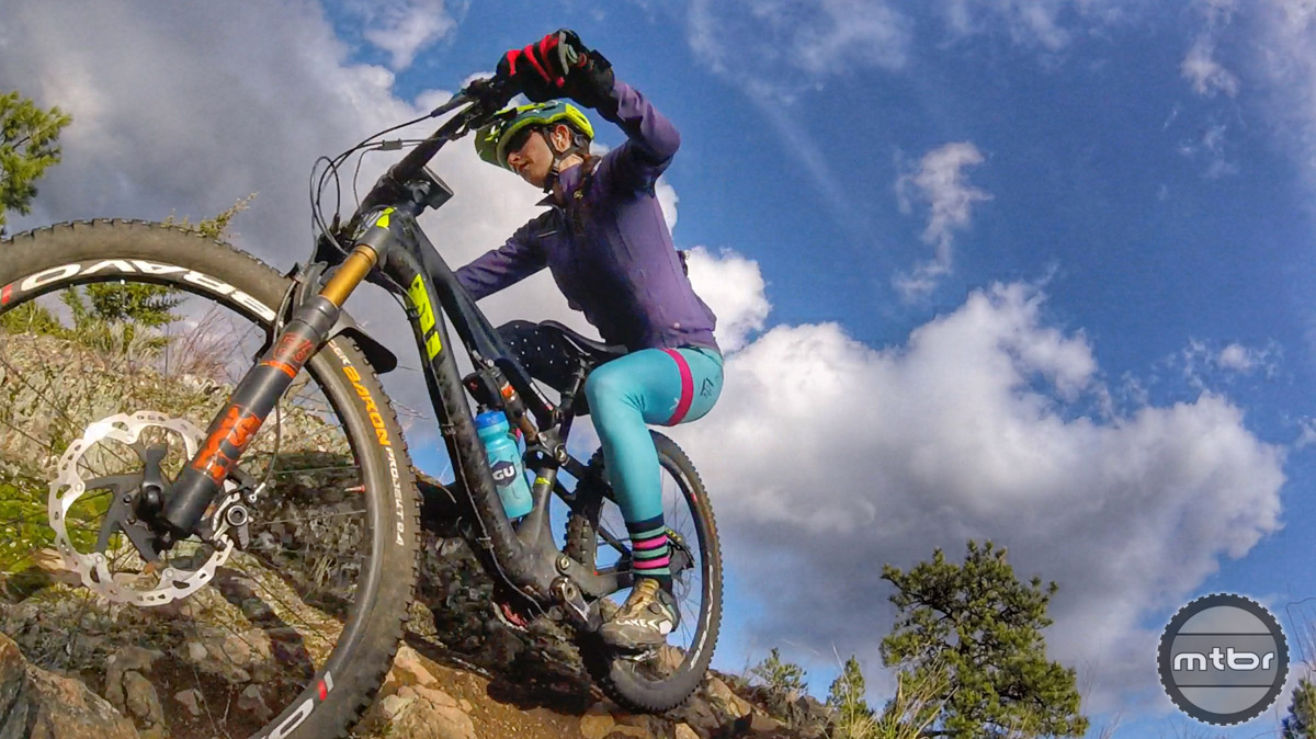 Looney prefers 27.5s for technical trails because it's easy for her to keep get the wheels moving on punchy spots, rocky, or rooty terrain.
