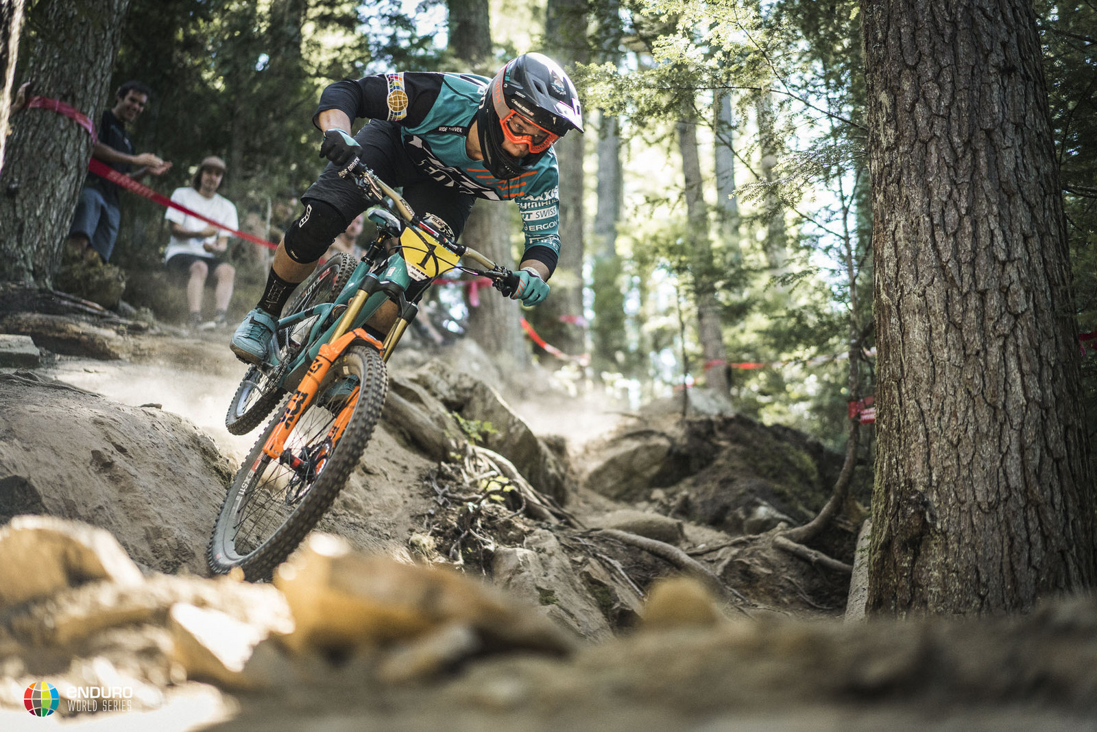 You wouldn't know it, but Rude has a puncture in this photo. He continued to ride aggressively all the way to the finish and then fixed it. Photo courtesy Enduro World Series