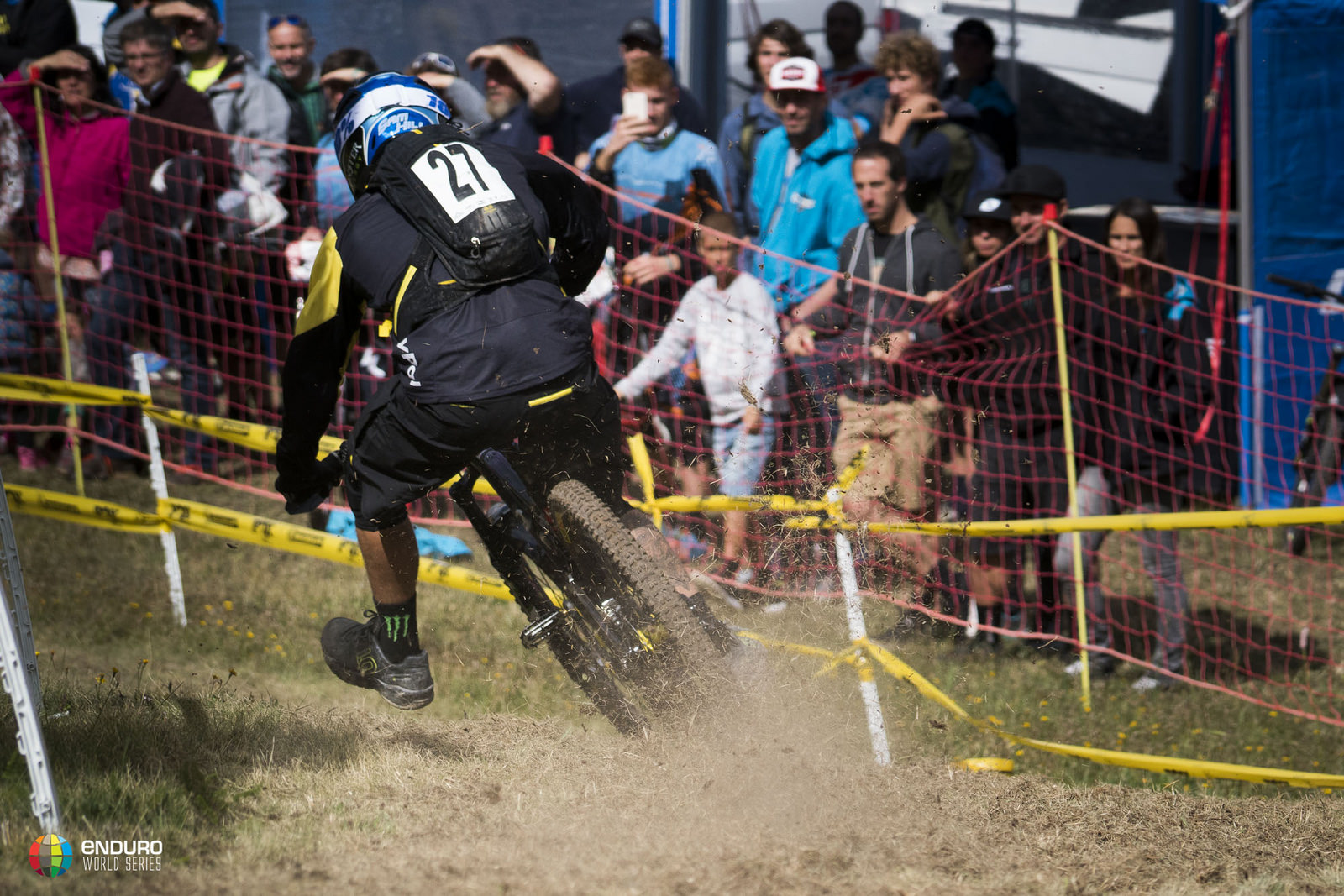 Sam Hill goes flat out foot out on his way to EWS win No. 1.