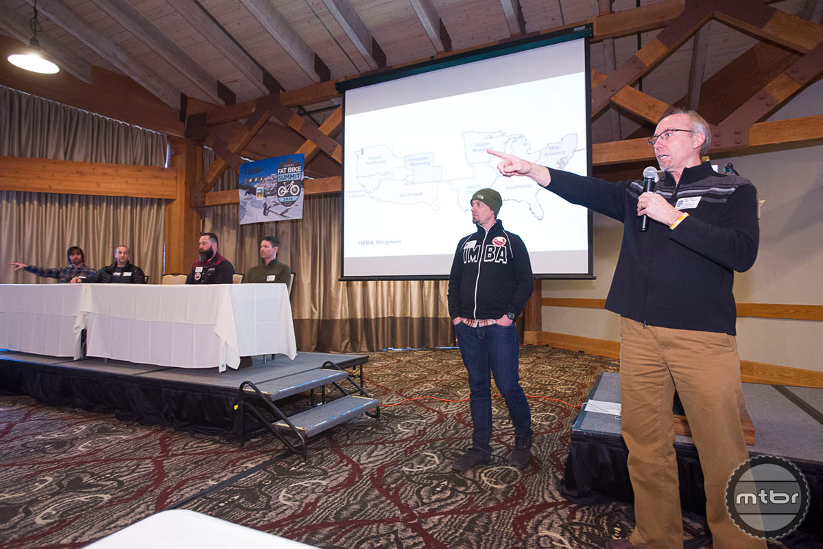 IMBA's Mike Van Able preaches to the choir about fat bike advocacy and recent access successes. Photo by Bob Allen and Estela Villasenor