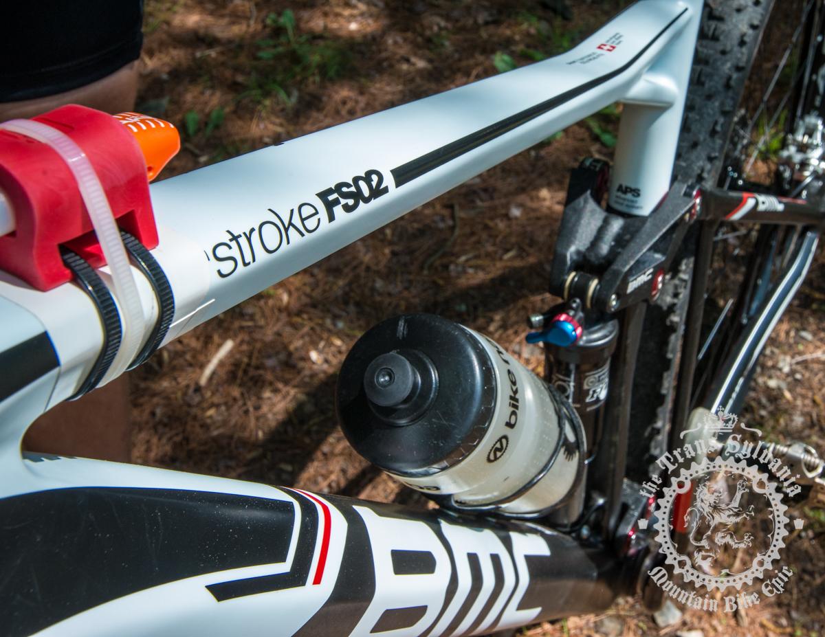 The carbon front triangle of Aaron Albright's BMC Fourstroke FS02. Photo by  the Trans-Sylvania Epic Media Team