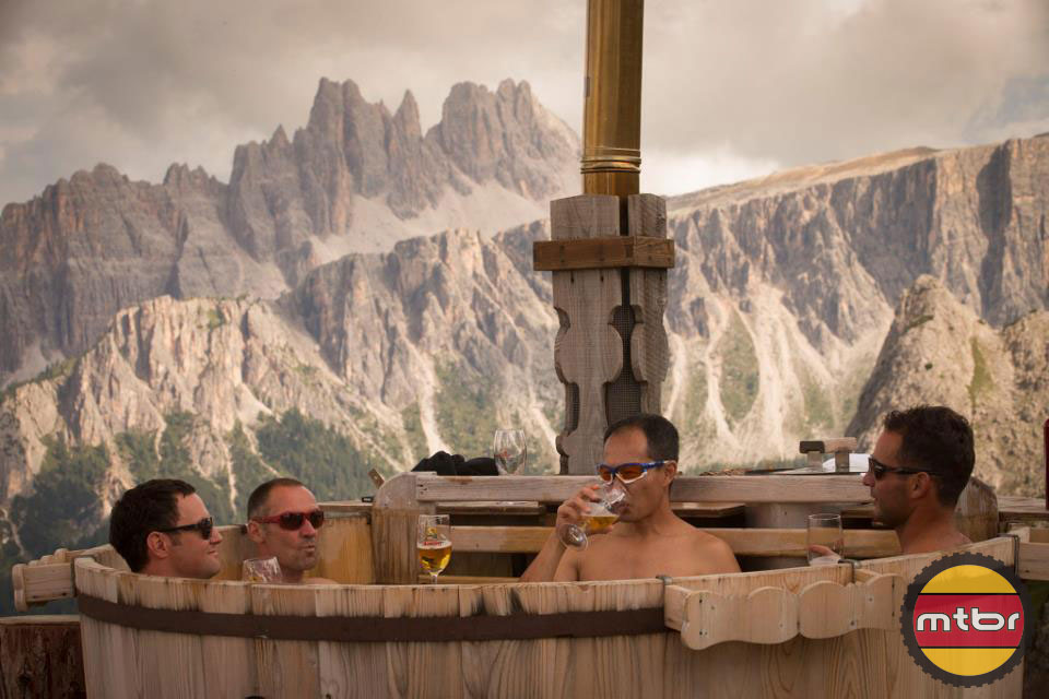 Rifugio Scoiattoli Hot tub in Cortina, Italy is a good place to have a post ride beer
