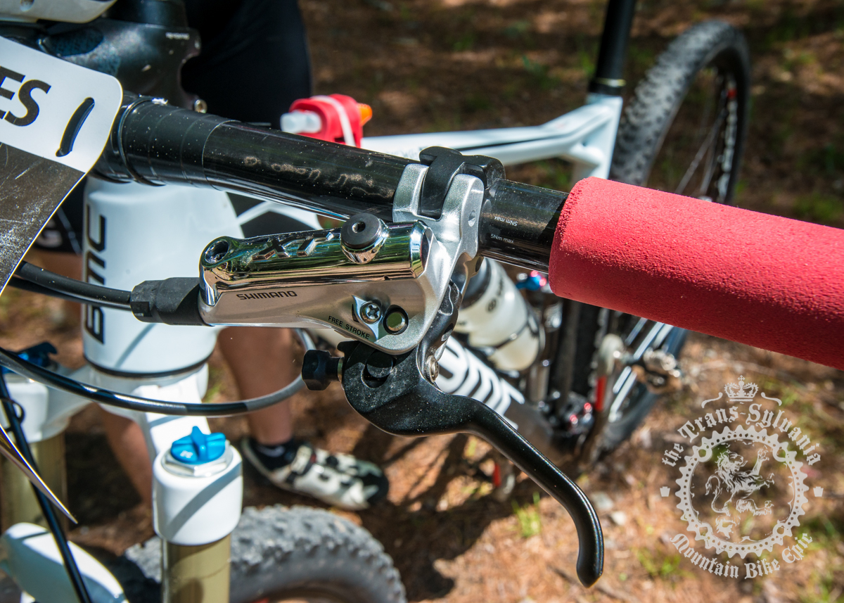 The new Shimano XT levers and Aaron Albright's ESI grips. Photo by  the Trans-Sylvania Epic Media Team