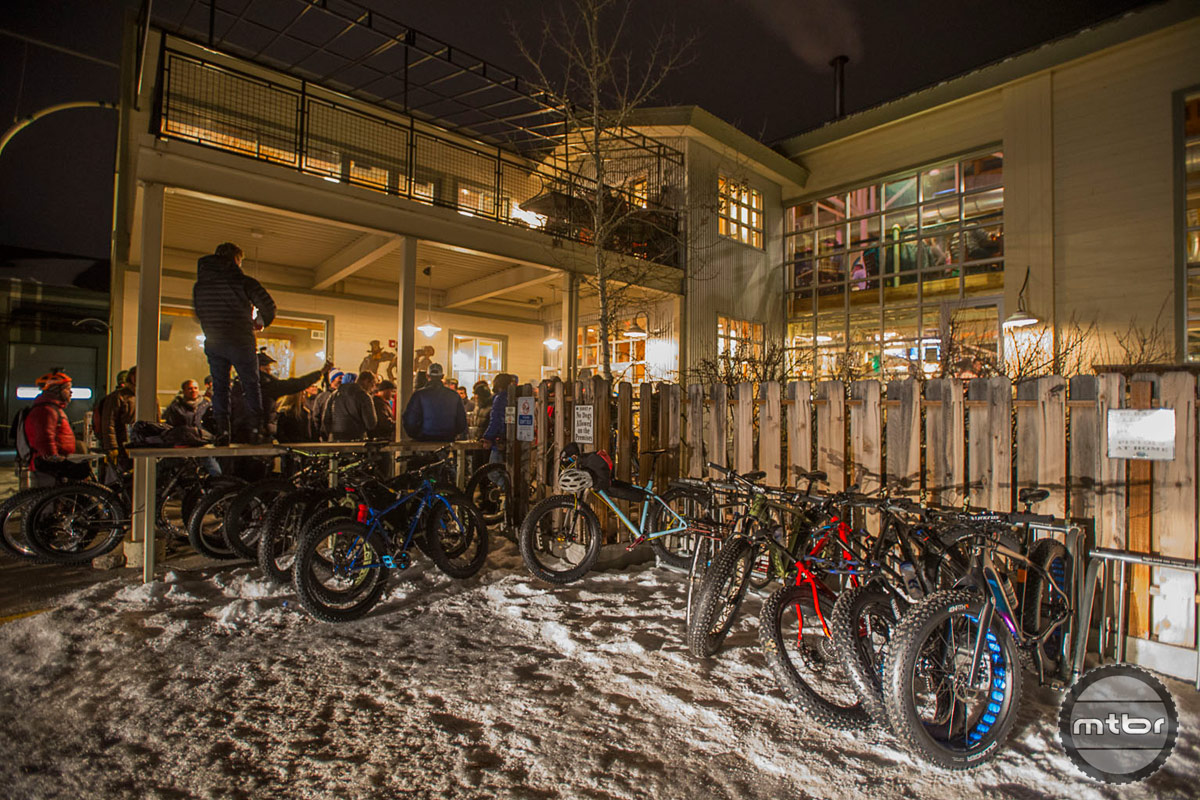 Over 50 fat bikers took to the streets of Jackson for the pub crawl that offered an awesome raffle at every stop. The Snake River Brewery hosted the first raucous stop. Photo by Bob Allen and Estela Villasenor