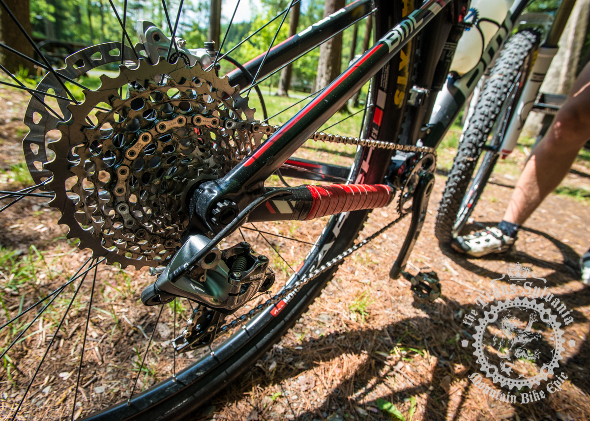 Aaron Albright's SRAM XX1 drivetrain. Albright wraps his right chainstay with handlebar tape to protect the frame from chain-slap. Photo by  the Trans-Sylvania Epic Media Team