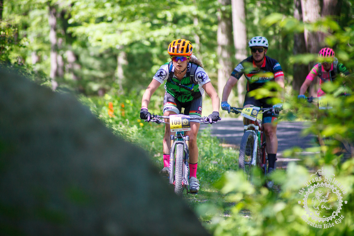 Ellen Noble rides through the woods (Competitive Cyclist) at the NoTubes Trans-Sylvania Epic. Photo by the Trans-Sylvania Epic Media Team