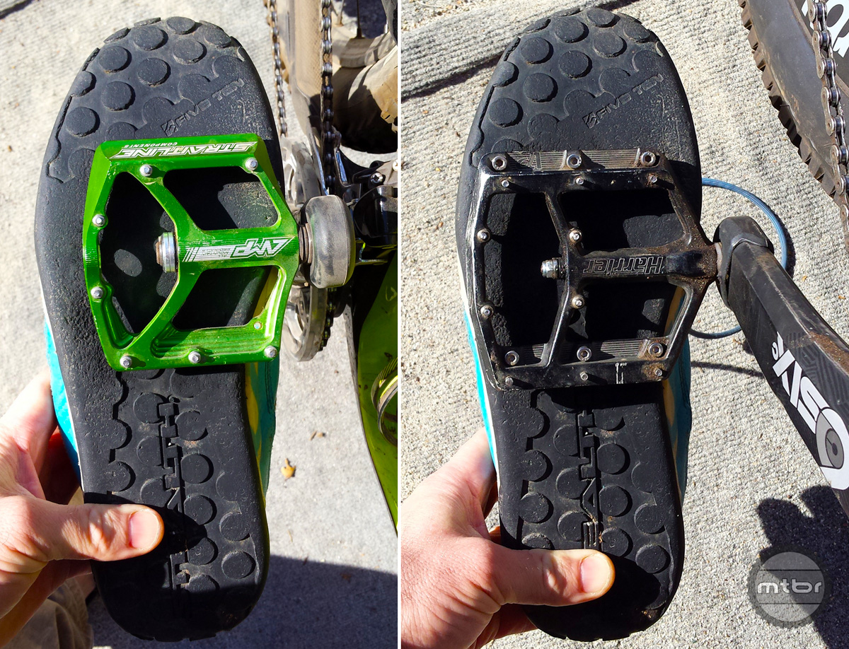 A size 13 shoe on a Straitline pedal and a VP Harrier pedal suggests that there may be opportunity for size specific pedals.