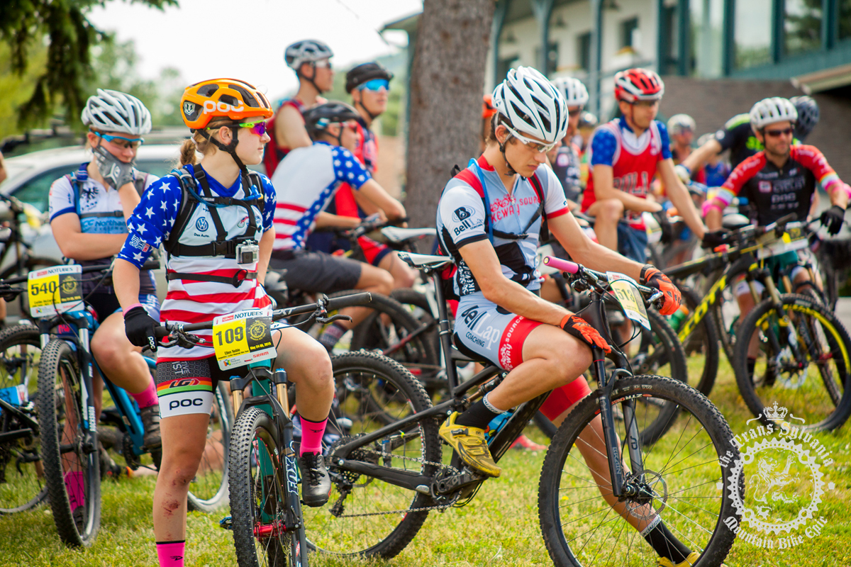 Ellen Noble (Competitive Cyclist) sports her national championship jersey for Team Colt's America day at the NoTubes Trans-Sylvania Epic. Photo by the Trans-Sylvania Epic Media Team