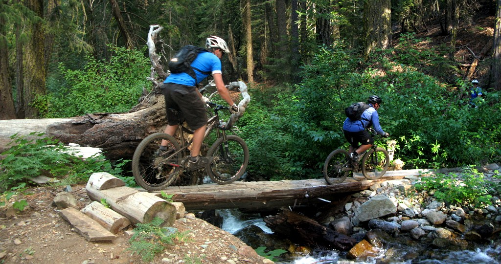 Evan and Fast Eddy on a log bridge