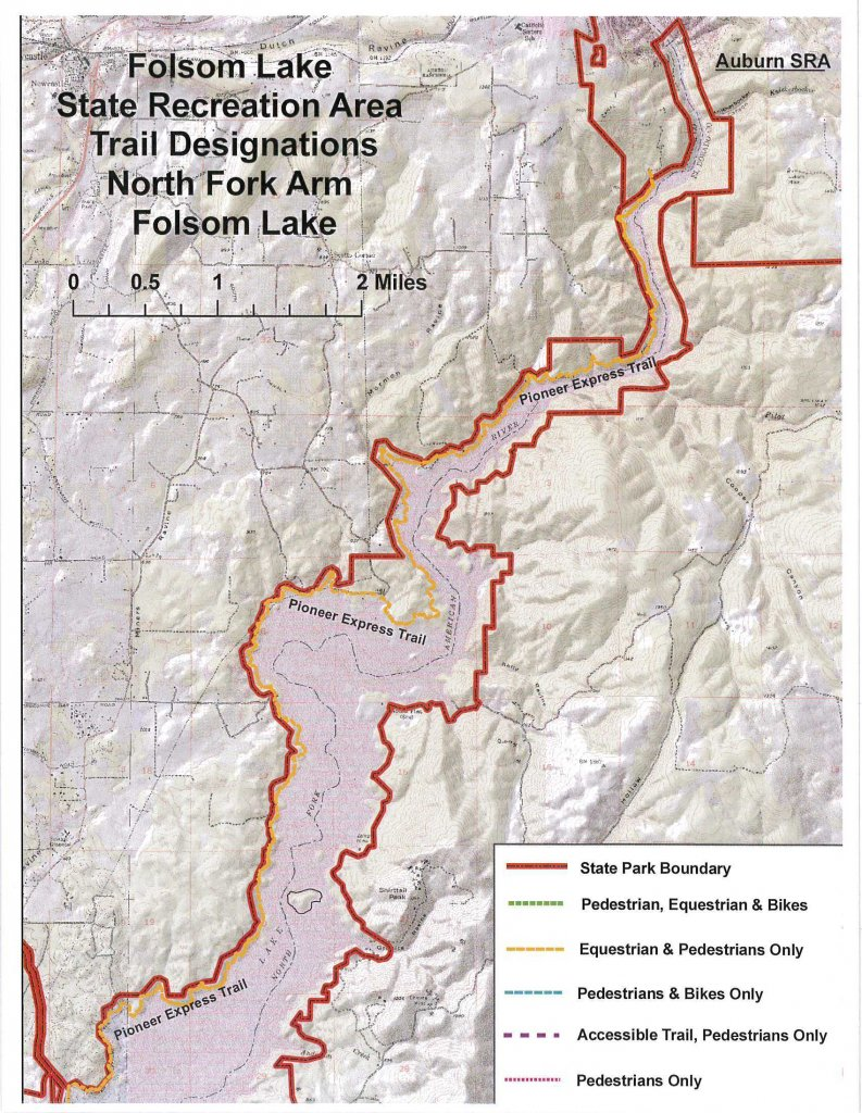 Folsom Lake Sra Trail Access Designations Includes Lake