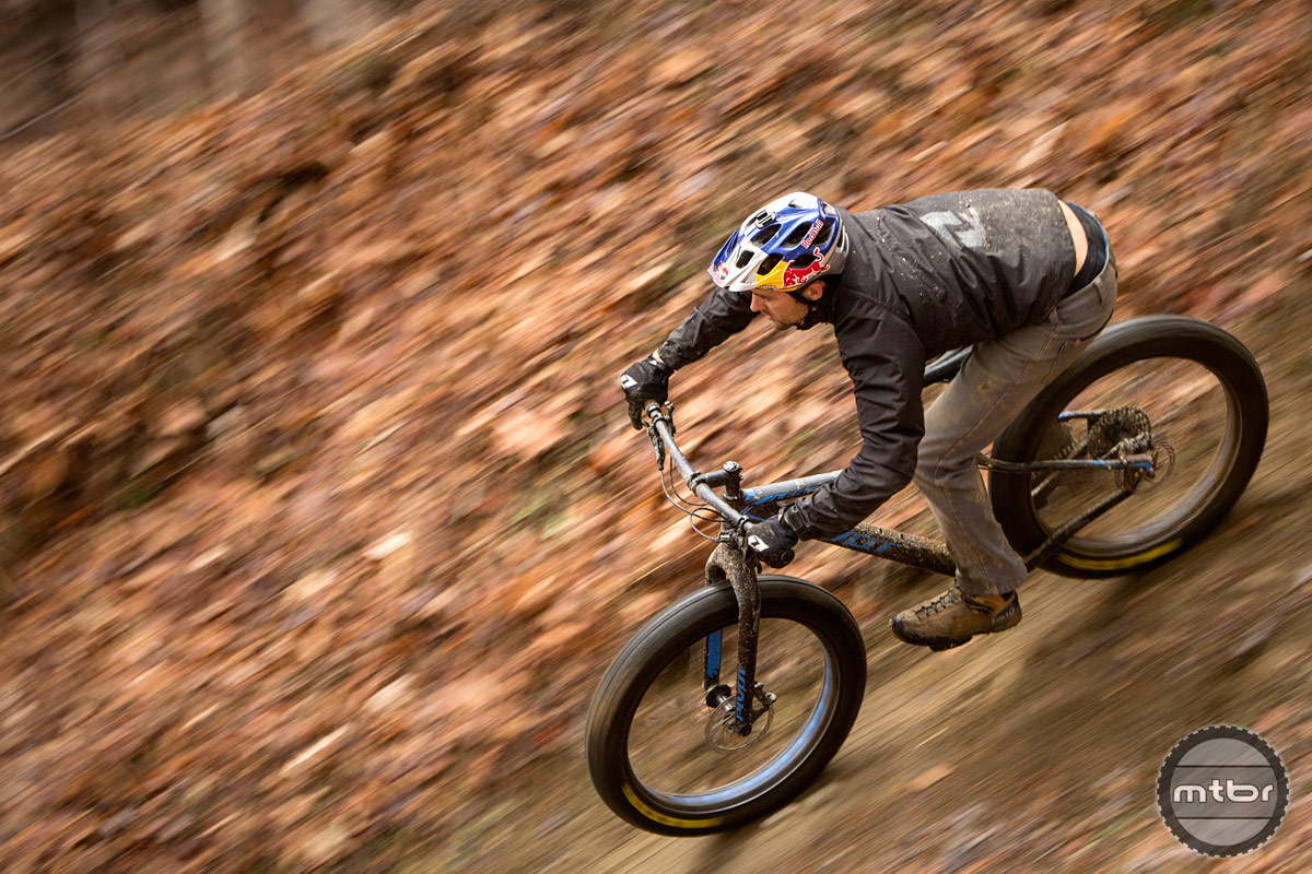 Aaron Chase on the new Pivot LES Fat bike.