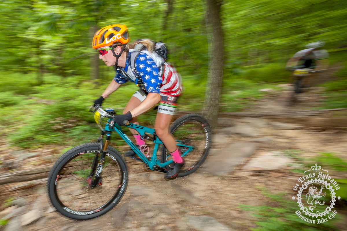 Ellen Noble (Competitive Cyclist) rips one of the enduro segments at Tussey Mountain at the NoTubes Trans-Sylvania Epic. Photo by the Trans-Sylvania Epic Media Team