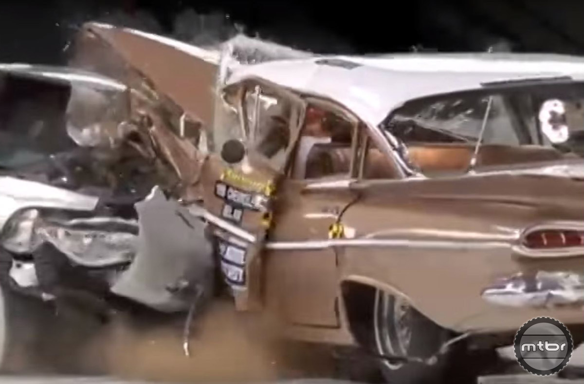Car technology has come along way in the past fifty years. In this crash test conducted by the IIHS to celebrate their 50th anniversary, the occupants of the newer vehicle fared much better than those in the vintage Chevy.