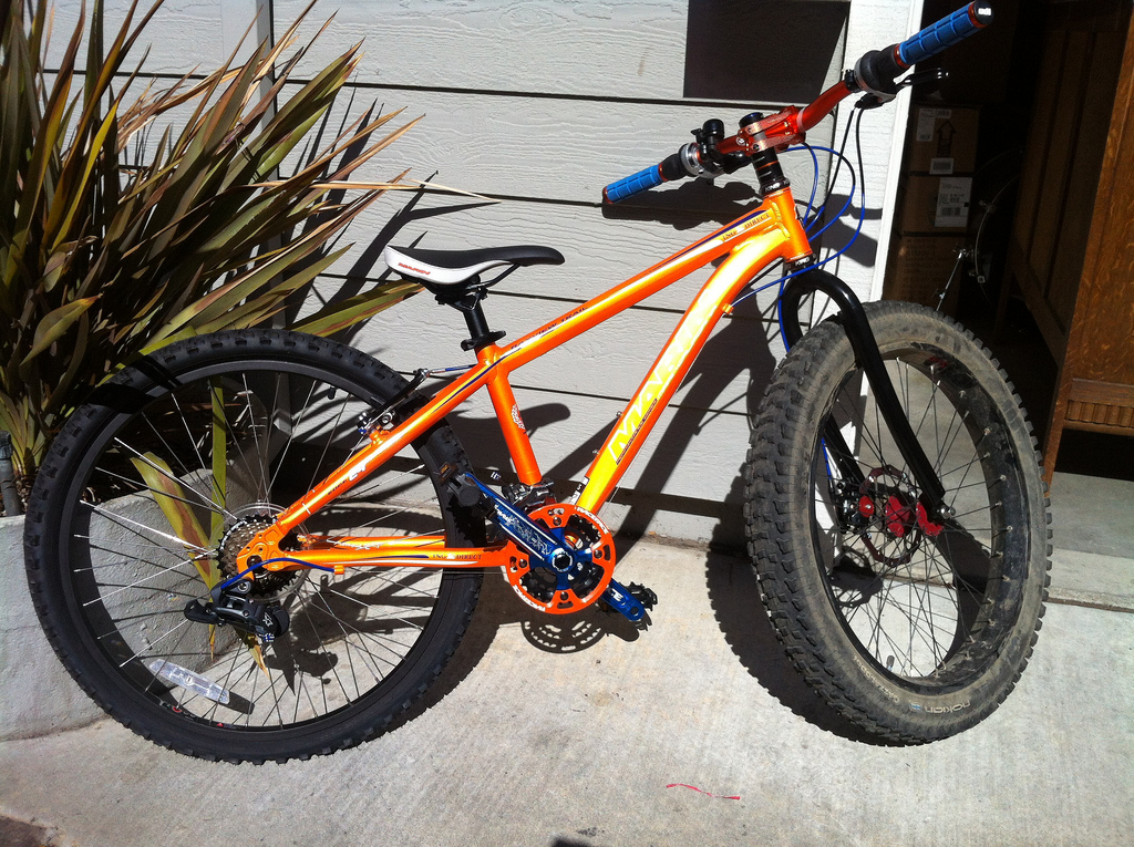 Custom made 24 inch bike with fat tire front