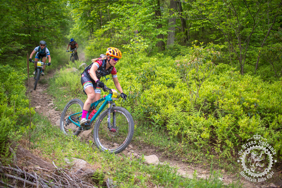 Ellen Noble (Competitive Cyclist) rides through the woods at the NoTubes Trans-Sylvania Epic. Photo by the Trans-Sylvania Epic Media Team
