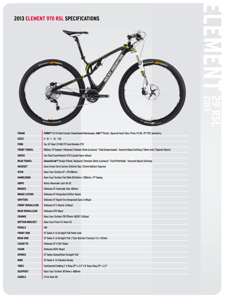 Rocky Mountain Element 970 RSL Specs