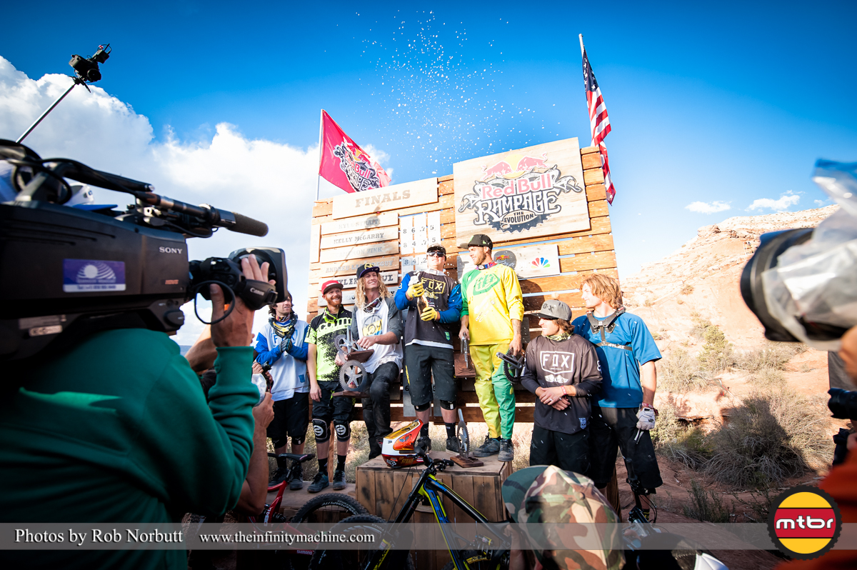 Kyle Strait Pops the Champagne - Redbull Rampage 2013 Podium