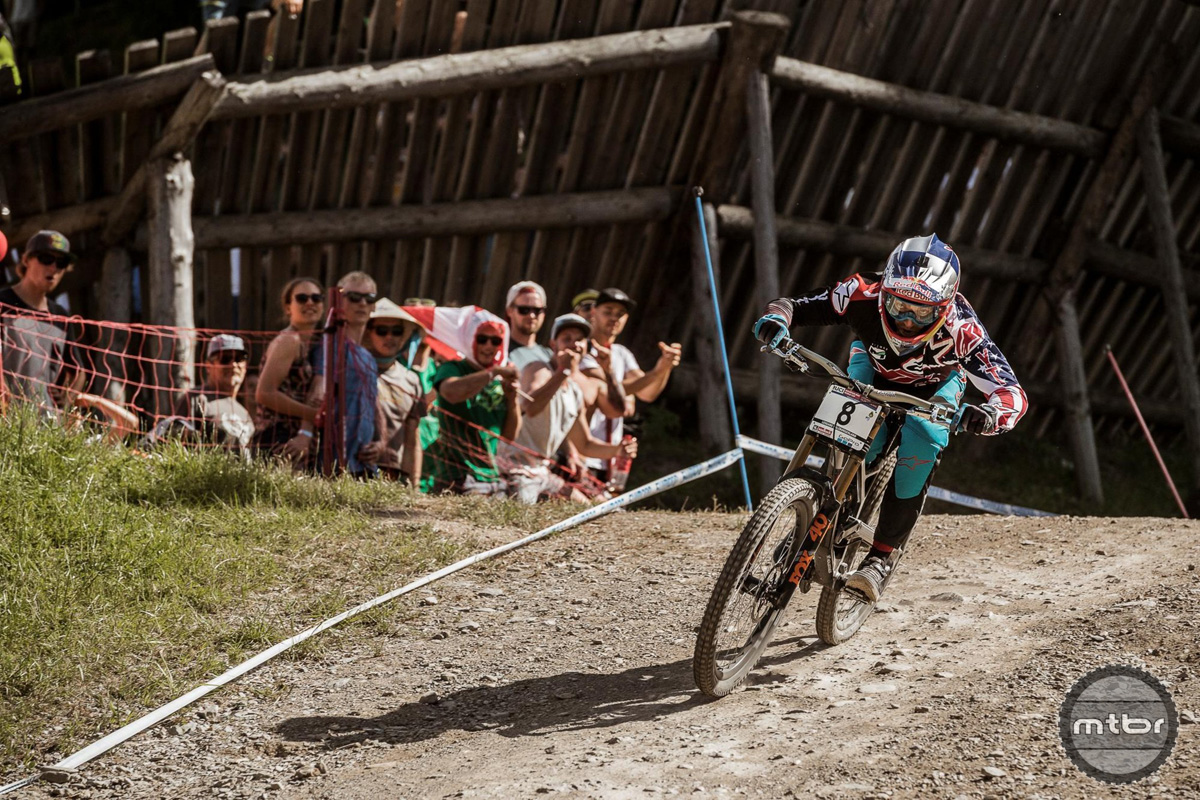 Aaron Gwin Racing at Finals of 2017 Leogang MTB World Cup