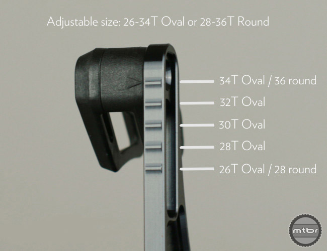 The absoluteBLACK Oval Guide works with 1x10, 1x11 or 1x12 transmission (including SRAM Eagle). The Oval Guide is designed to work with oval chainrings between 26-34 teeth, and for round chainrings from 26-36 teeth.