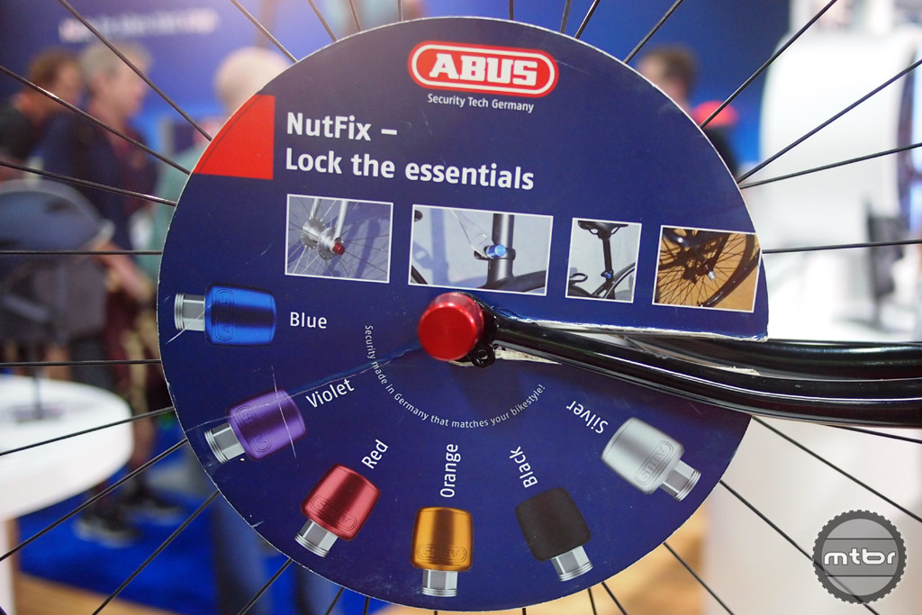 ABUS is moving beyond bike locks to locking your components. The Nutfix design is used on wheel skewers and seatpost clamps for security.