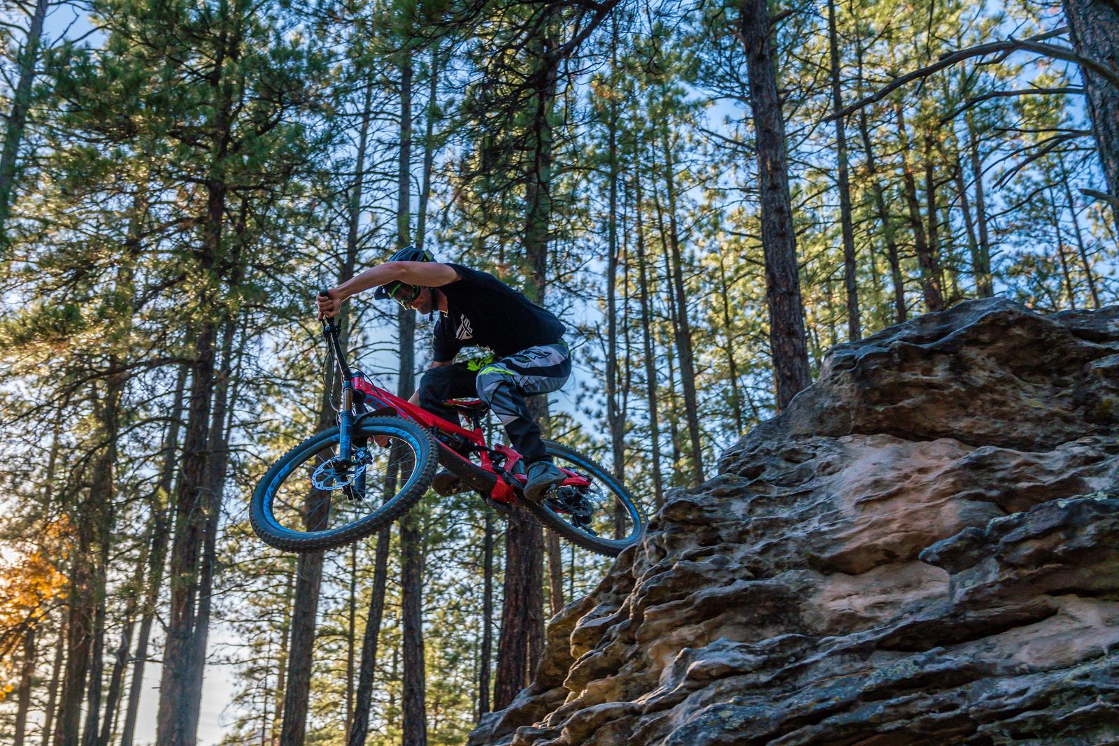 Adam Snyder rides a small Pivot Firebird