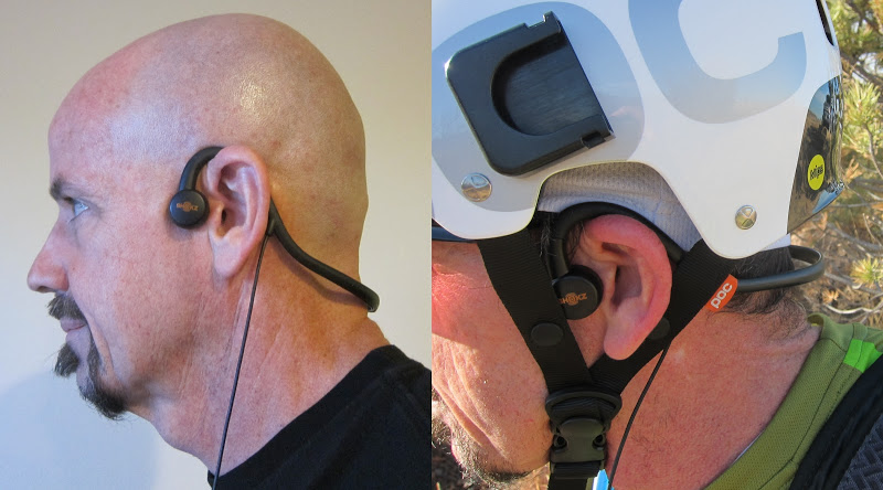 aftershokz - wearing the headphones, normal and under helmet