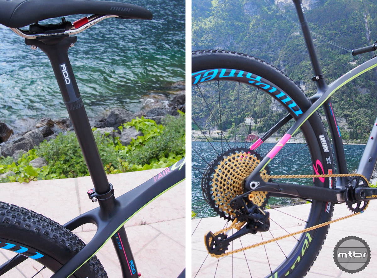 27.2 seatpost (left) supplies the more comfortable ride. The RDO is  a perfect match for SRAM Eagle's group (right). This bike can take up to a 38 tooth single front ring.