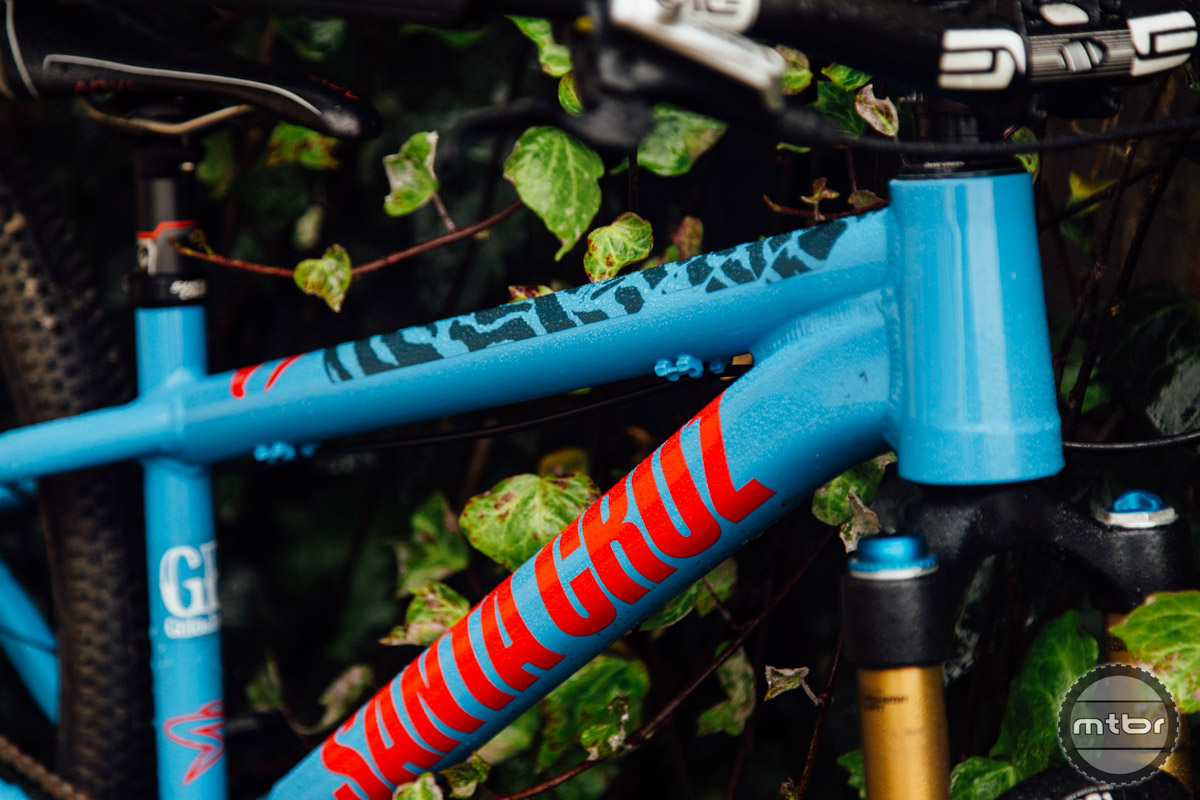 The frame decal extends only partially down the top tube, leaving large swaths of the frame unprotected.